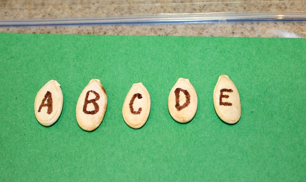 Pumpkin Seed Busy Bag-ABCs (and even more ideas)