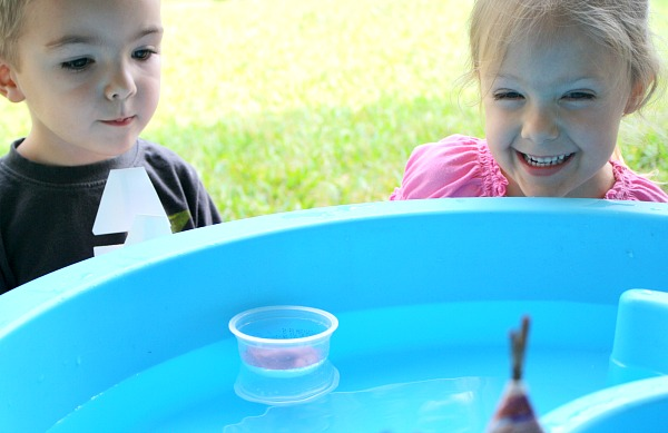 Testing out our boats...Thanksgiving science experiment