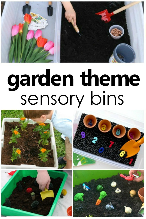 Garden Sensory Bins for Spring and Summer Sensory Play #summer #spring #gardentheme #preschool #kinder