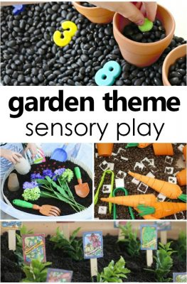 Garden Theme Sensory Play and Gardening Sensory Bin Ideas #preschool #sensory #kids #kidsactivities #gardentheme #spring