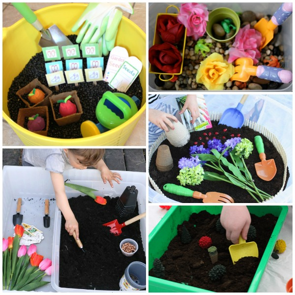Gardening Sensory Bins for Toddlers and Preschool Summer Outdoor Play