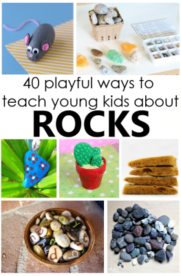Playful ways to teach young kids about rocks. Rock theme ideas for kids