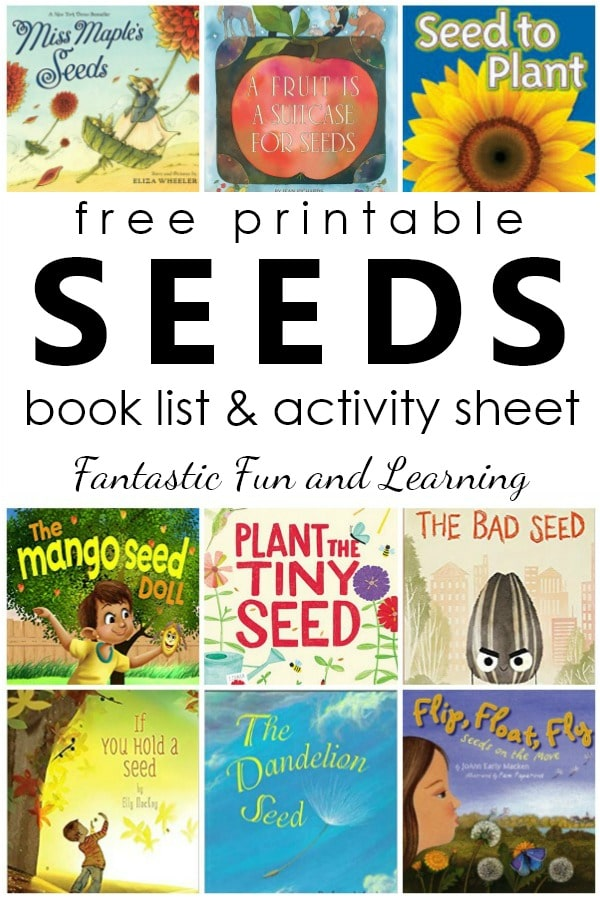 Free printable seeds book list. Fiction and nonfiction books about seeds for kids. Includes writing activity freebie #booklist #freeprintable #preschool #kindergarten