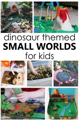 16 creative dinosaur play worlds for small world play and dinosaur sensory bins that inspire playful learning in preschool.