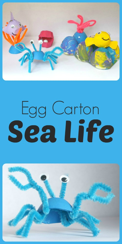 Egg carton sea life recycled craft for Sea life arts and crafts