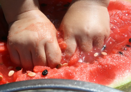 watermelon sensory play