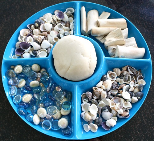 Invitation to Play with Shells-Preschool Beach Activities
