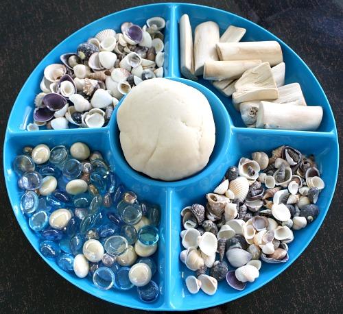 Invitation to Play with Shells-Preschool Beach Activities