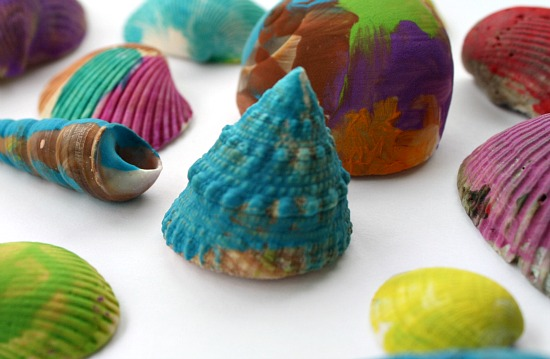 Seashell painting art for kids for Seashell art projects