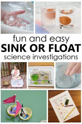 10 engaging sink or float science activities for toddlers and preschoolers with free printable sink or float recording sheet to design your own experiments.