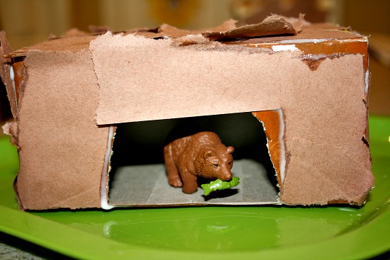 Torn Paper Bear Cave Craft for Kids