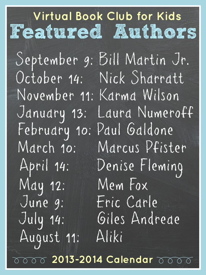 Virtual Book Club Author List for 2013-2014