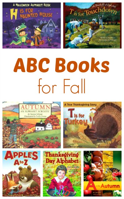ABC Books for Fall: 14 alphabet books for fall themes. Includes ideas for Fall, Pumpkins, Halloween, Football, Pilgrims, Native Americans, & Thanksgiving