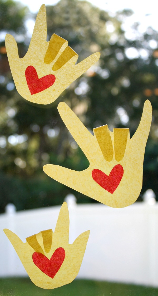 Kissing Hand Suncatcher Craft for Back to School