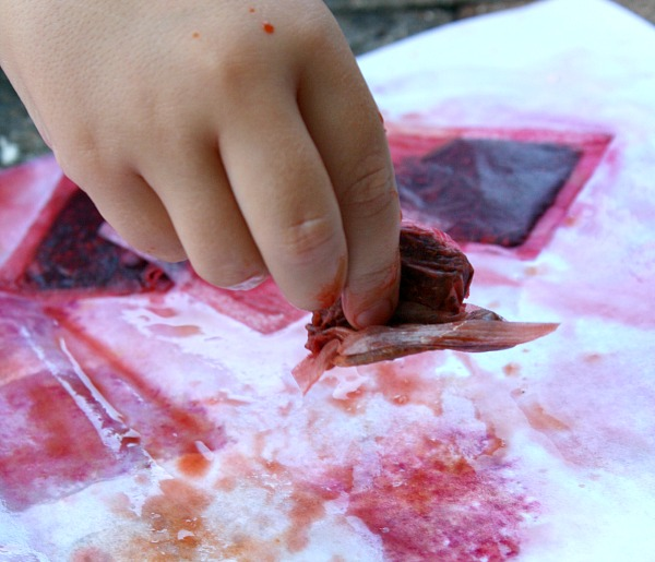 Squishing Tea Bags- Sensory Painting