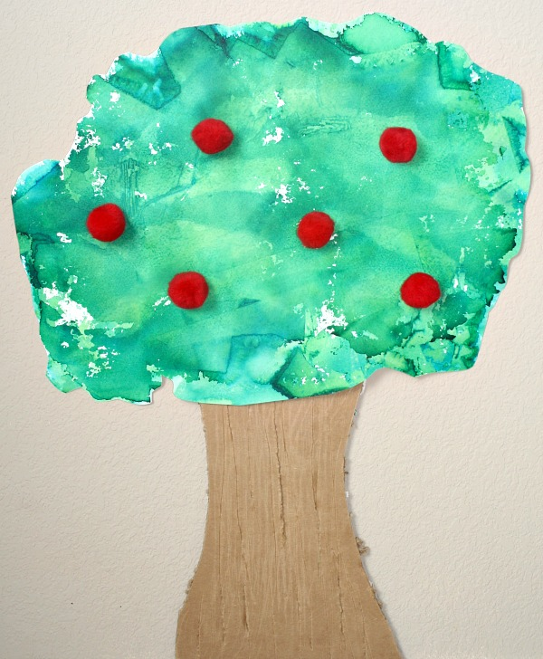 Tissue Paper Art Apple Tree Craft