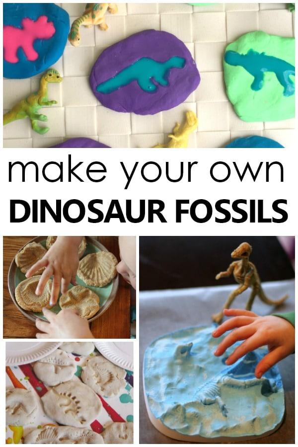 Creative Ways to Make Your Own Dinosaur Fossils and other Fun Fossil Activities for Kids #preschool #science #dinosaurs