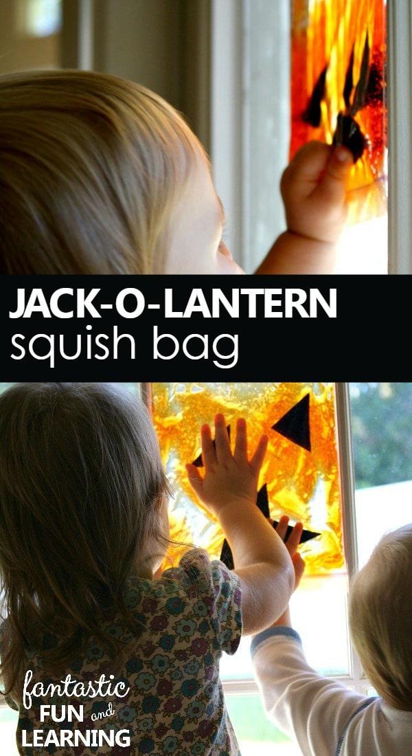 Jack-O-Lantern Squish Bag Halloween Sensory Play for Babies and Toddlers