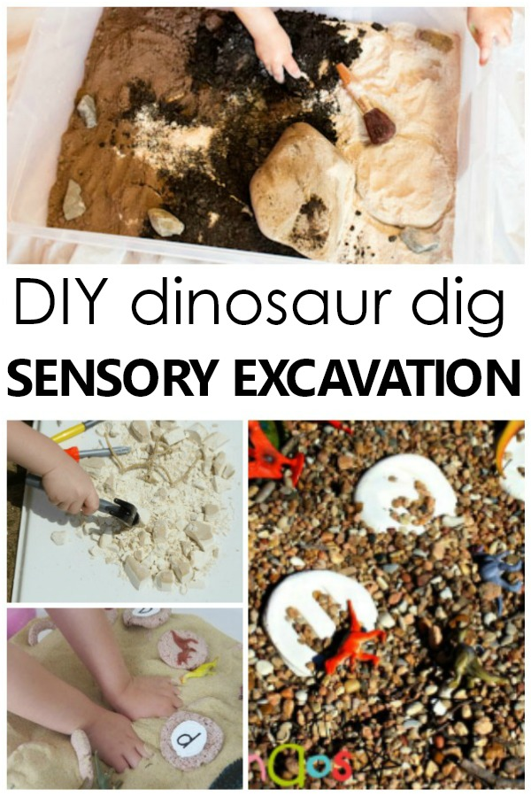 Make your own DIY dinosaur dig and sensory excavation sensory bins for preschool dinosaur and fossil activities for kids #preschool #sensory #dinosaur