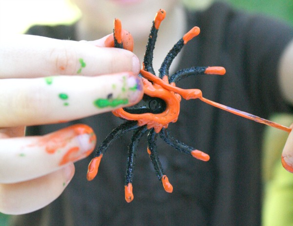Painting with Plastic Spiders