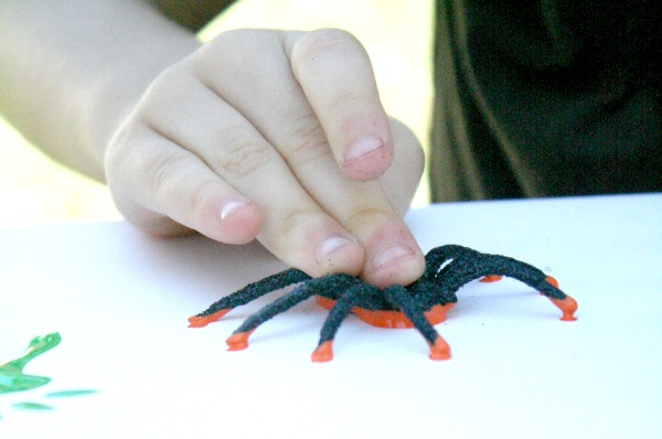 Stamp with Plastic Spiders