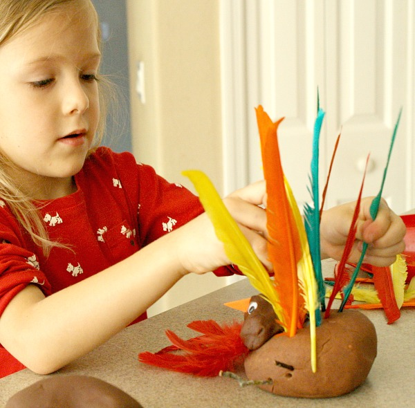 Thanksgiving Fine Motor Activity-Turkey Play Dough
