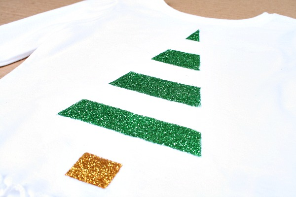 Easy Glitter Christmas Tree Shirt Tutorial