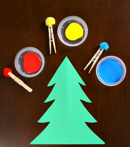 Christmas Tree Craft.Pom Pom Painting Christmas Tree Craft For Toddlers