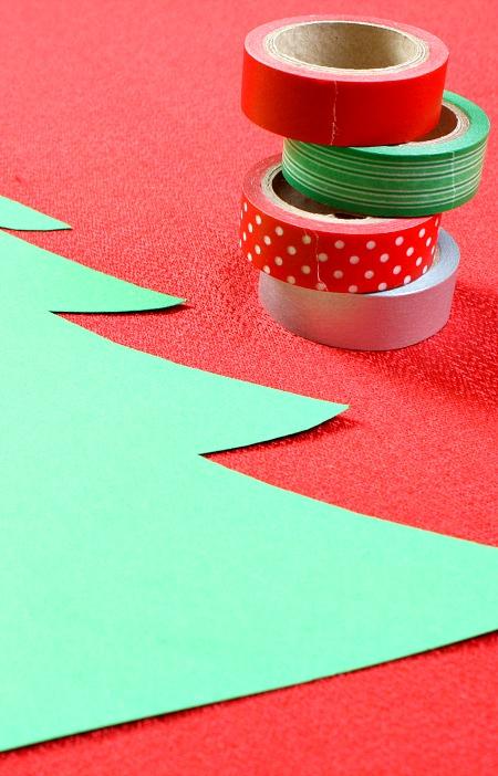 Washi Tape Christmas Tree Craft for Kids