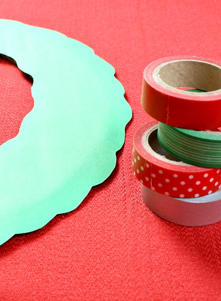 Washi Tape Wreath Christmas Craft for Kids