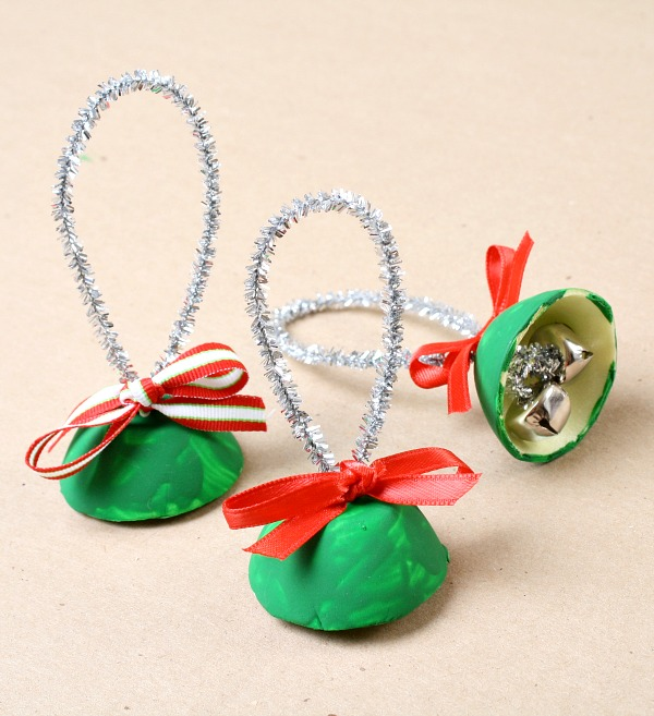 egg carton bell christmas craft