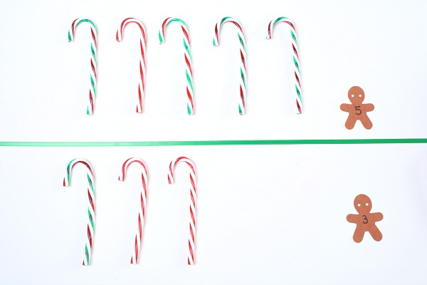 Comparing numbers with candy canes