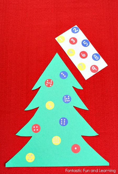 Number Match Dot Sticker Christmas Tree Activity