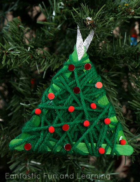 Yarn Wrapped Christmas Tree Ornament