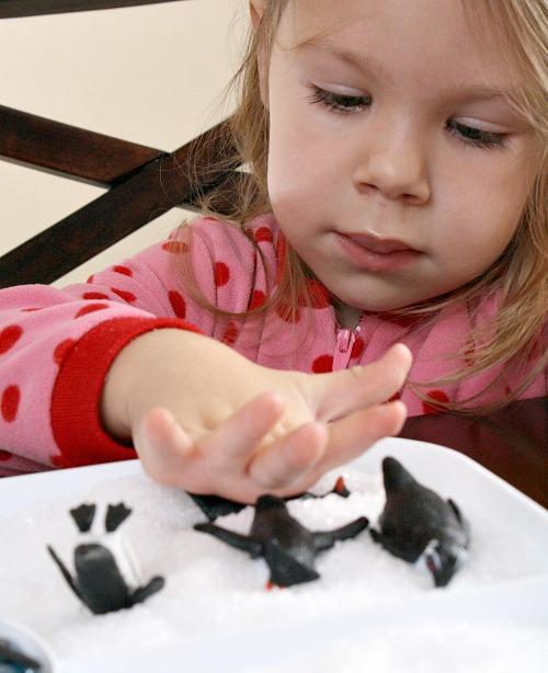 Penguin Salt Tray...winter sensory fun for kids