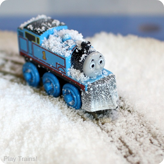 Snow-Sensory-Play-with-Trains-4