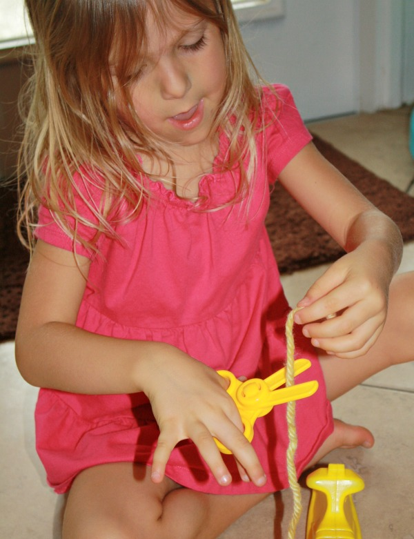 Y is for Yarn...yellow yarn sensory bin