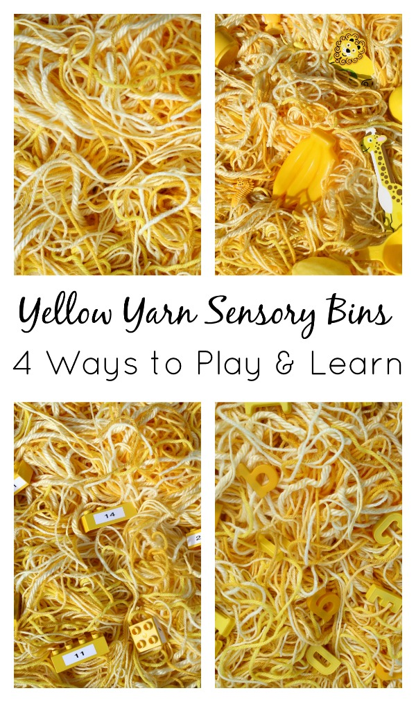 Yellow Yarn Sensory Bins...4 Ways to Play and Learn with Toddlers and Preschoolers