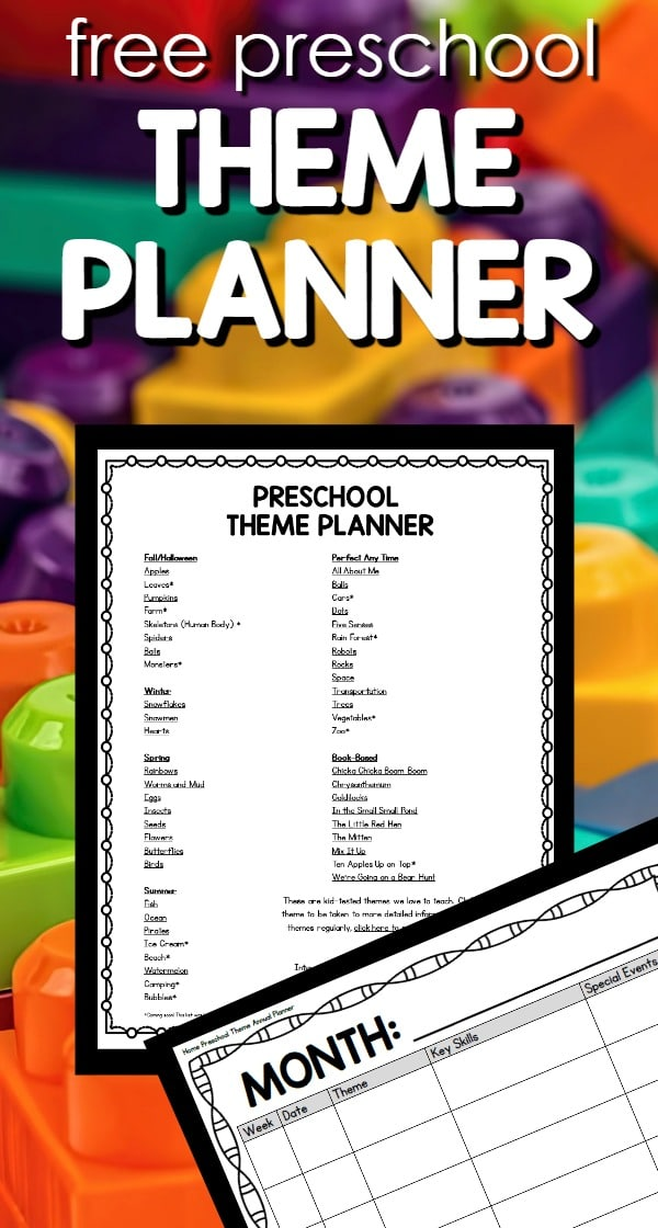free printable annual theme planner full of theme idea for preschool at home or in the