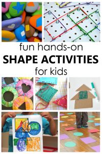 Try these fun shape activities to help preschoolers and kindergarteners learn about 2D shapes in a playful, hands-on way