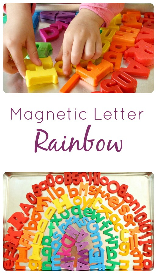 Magnetic Letter Rainbow--color sorting activity for toddlers and preschoolers