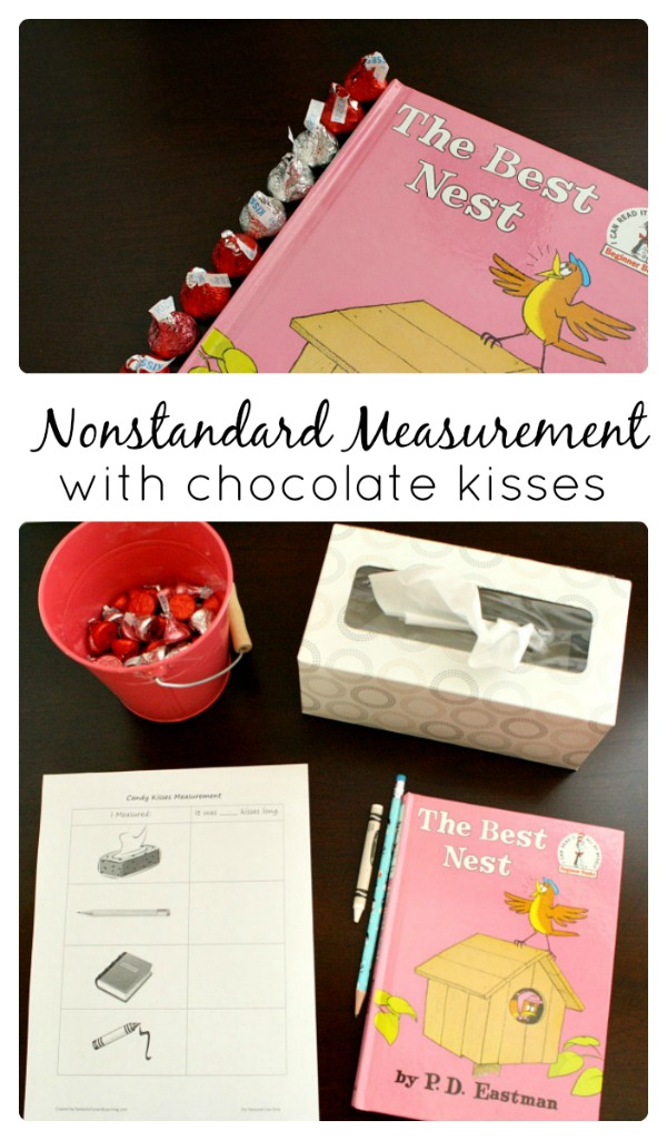 Nonstandard Measurement with Chocolate Kisses...preschool and kindergarten math activity with free printable