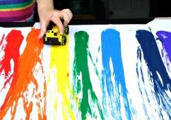 Racing Rainbow Painting with Cars