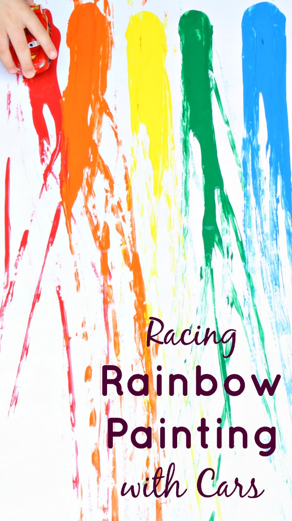 Racing Rainbow Painting with Cars - Fantastic Fun & Learning