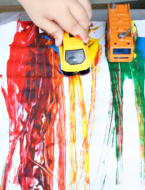Rainbow Painting with Cars