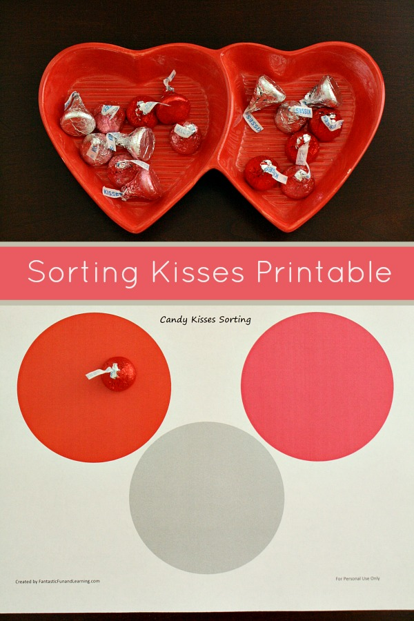 Sorting Kisses Activity for Toddlers and Preschoolers. Includes free printable