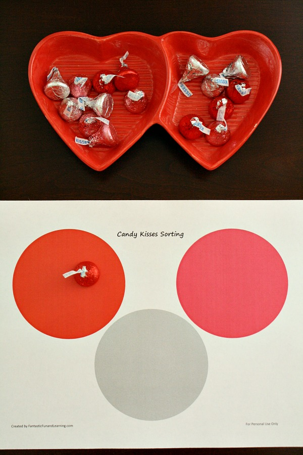 Sorting by Color Activity with Chocolate Kisses. Includes free printable