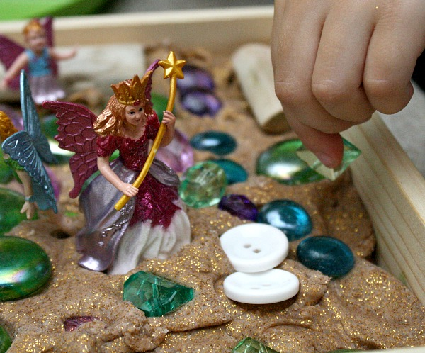 Toddler Fine Motor Play with Fairies and Play Dough