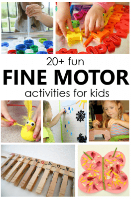 Fun Fine Motor Activities. Easily weave fine motor play into your routine with these fun, hands-on fine motor activities for toddlers and preschoolers learning new fine motor skills. for Kids...includes over 20 ideas for strengthening fine motor muscles through play activities