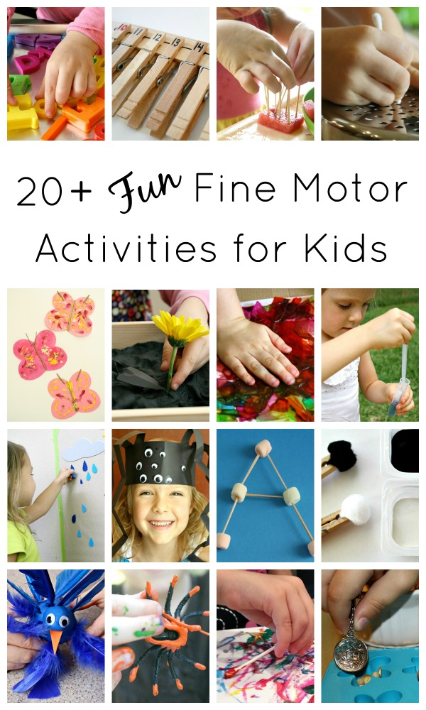 Fun Fine Motor Activities for Kids...includes over 20 ideas for strengthening fine motor muscles through play activities